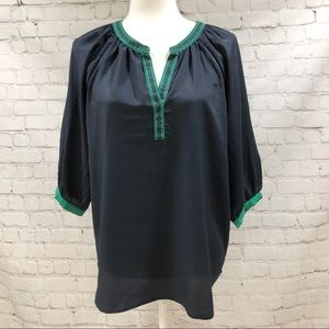 Collective Concepts Navy Blouse Green Trim Size M